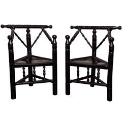 Pair of Late 19th Century Ebonized Turner Armchairs