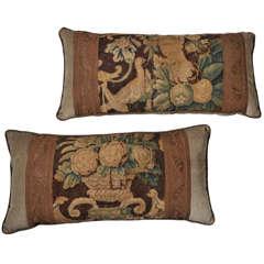 18th C Tapestry Lumbar Pillows