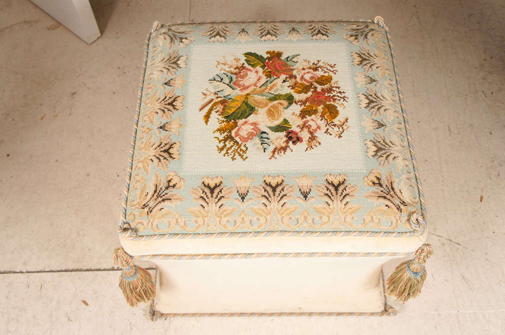 American Victorian Style Needlework and Upholstery Ottoman For Sale