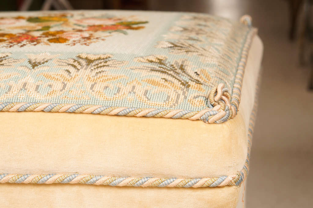 Late 20th Century Victorian Style Needlework and Upholstery Ottoman For Sale