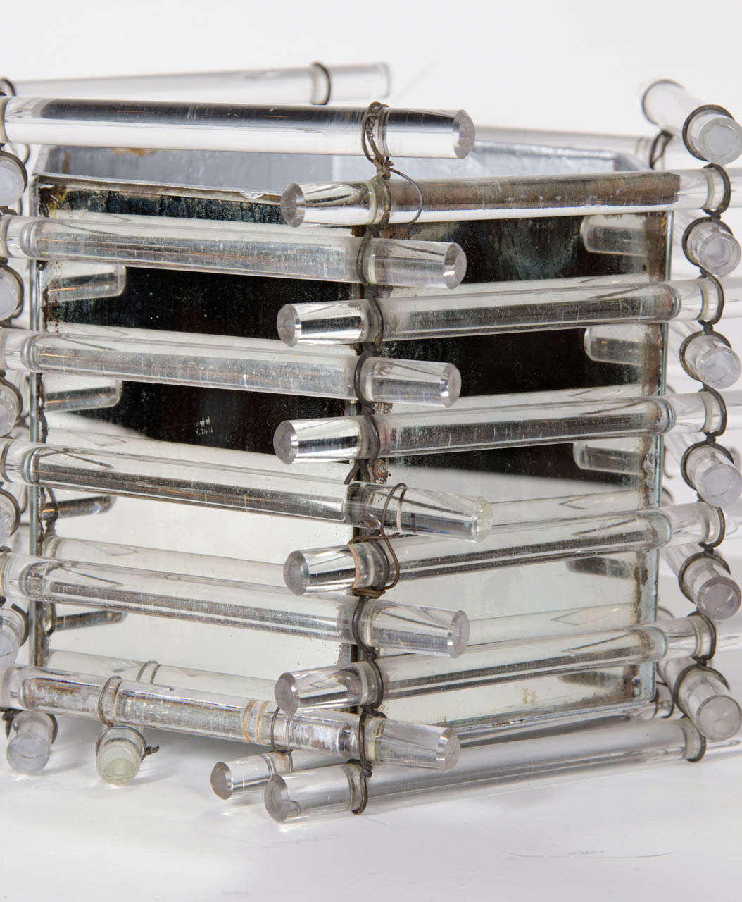 Gorgeous Art Deco Glass Rod And Antique Mirrored Pot At 1stdibs