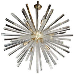 Spectacular Murano Glass Triedre Crystal Sputnik Chandelier with Brass Fittings