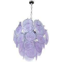 Modernist Handblown Murano Tranluscent Lavender Four-Tier Disc Chandelier