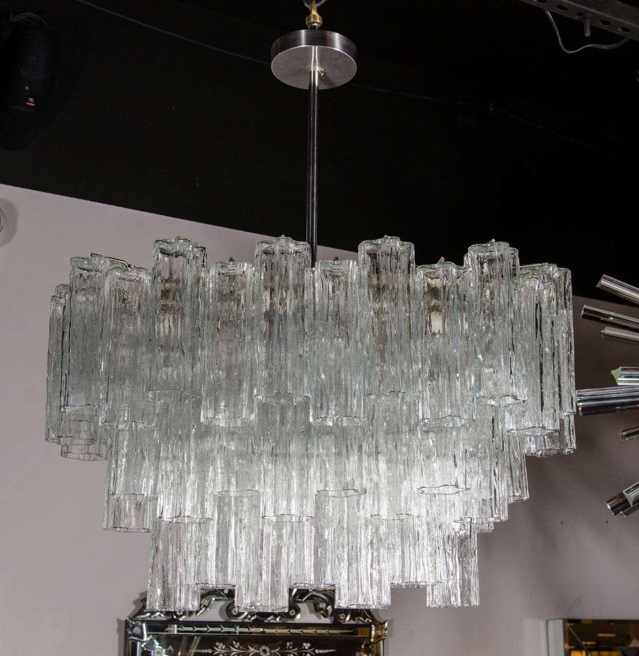 Mid Century Three Tier Murano Glass Tronchi Chandelier by Venini 2