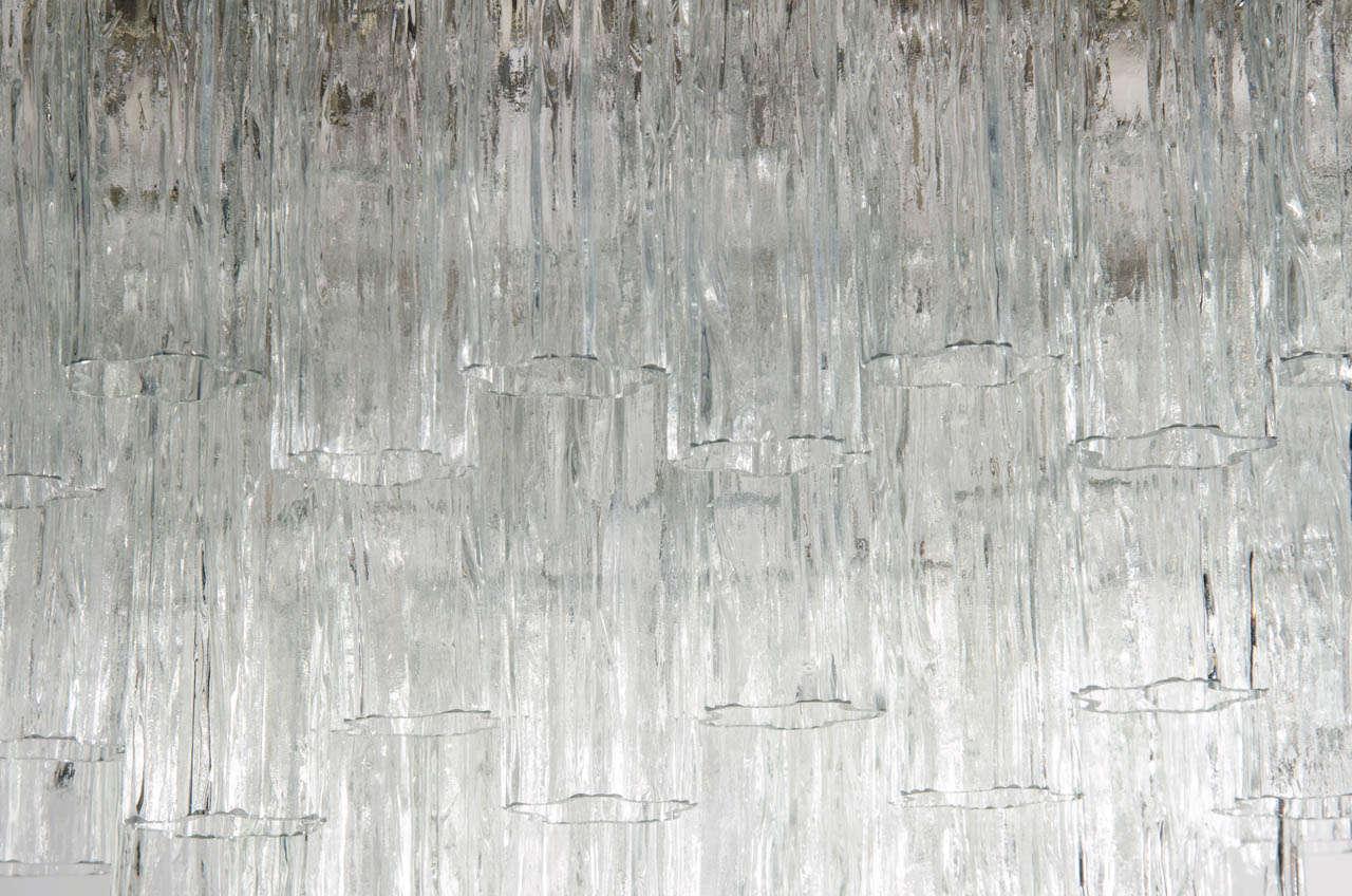 Mid Century Three Tier Murano Glass Tronchi Chandelier by Venini 3