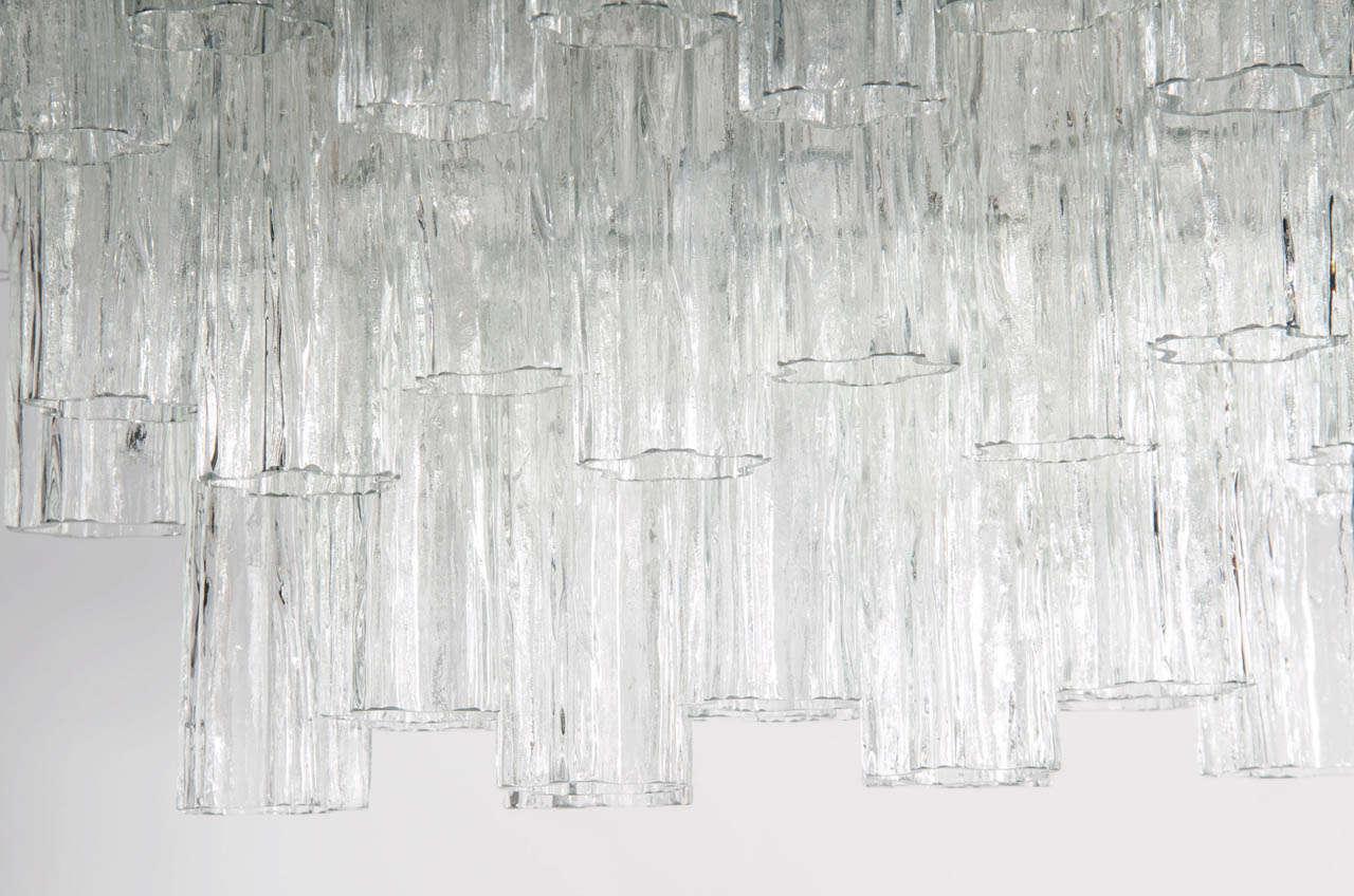 Mid Century Three Tier Murano Glass Tronchi Chandelier by Venini 4