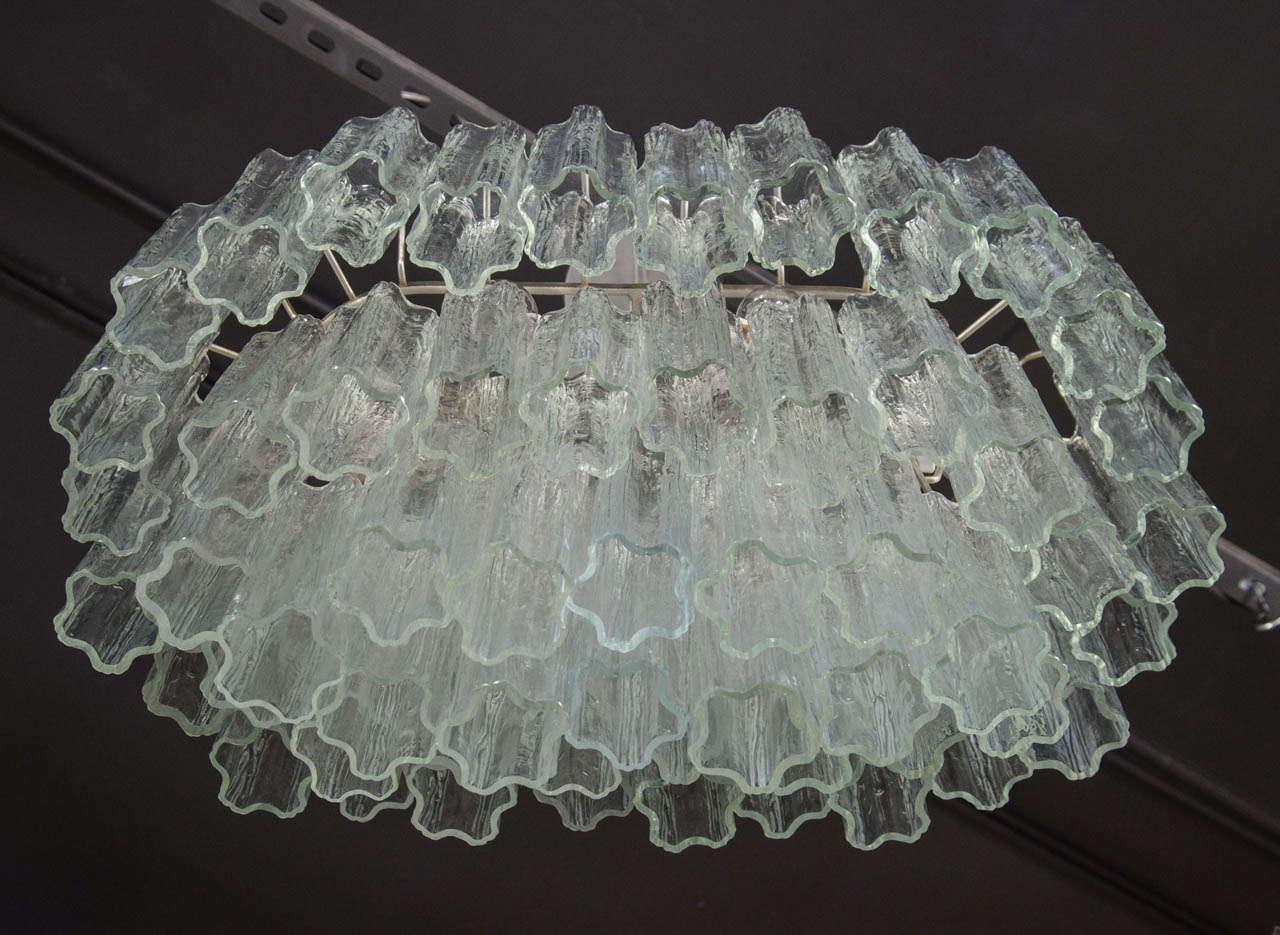 Mid Century Three Tier Murano Glass Tronchi Chandelier by Venini 5