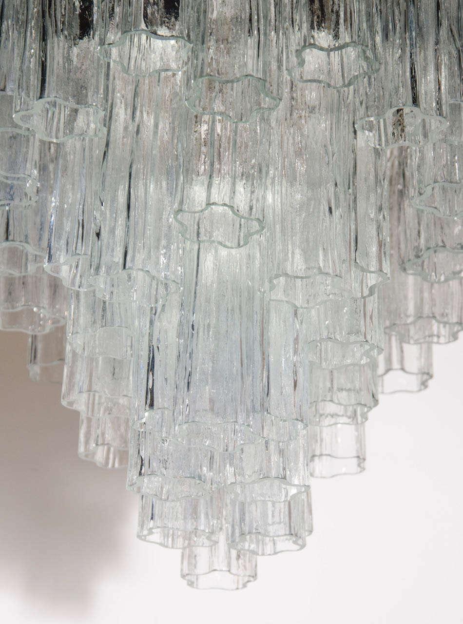 Mid Century Three Tier Murano Glass Tronchi Chandelier by Venini 7