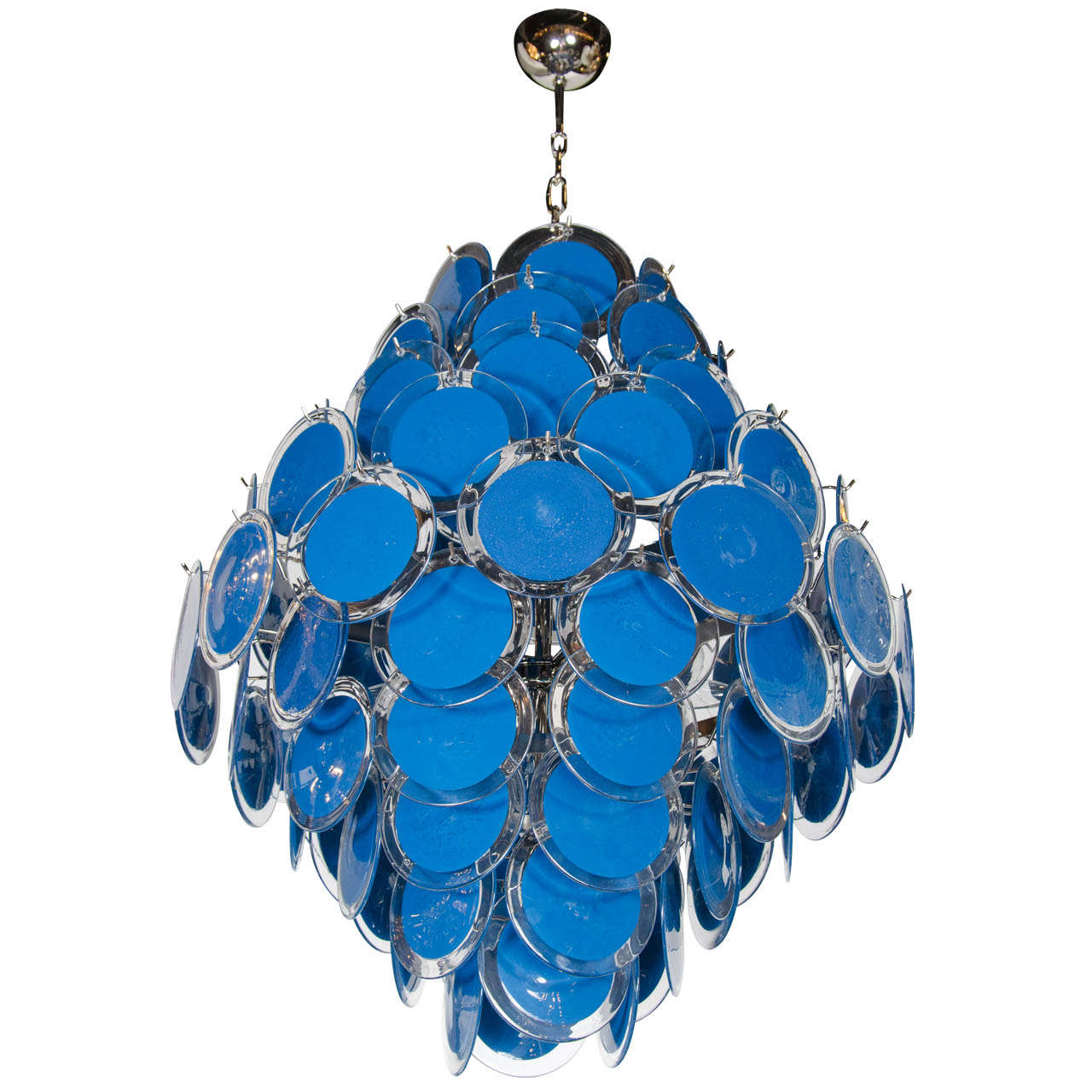 Large 84 murano sapphire and clear glass disc chandelier manner of large 84 murano sapphire and clear glass disc chandelier manner of vistosi for sale aloadofball Image collections