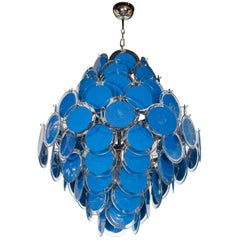 Modernist Sapphire & Translucent Handblown Murano Glass Disc Chandelier