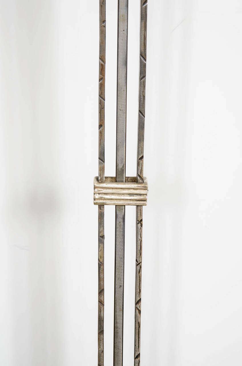 art deco floor lamp in silvered wrought iron with relief. Black Bedroom Furniture Sets. Home Design Ideas