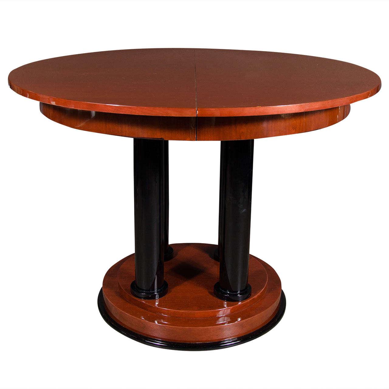 Elegant Art Deco Four Pedestal Center Hall Table/Dining ...
