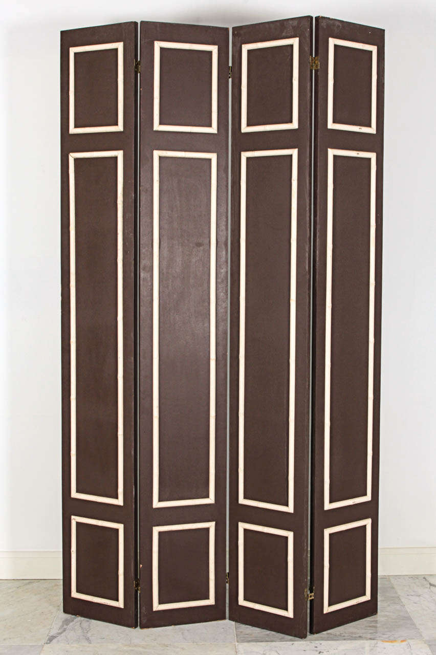 Pair of Hollywood Regency Painted Wood Screens with Faux Bamboo Trim 2