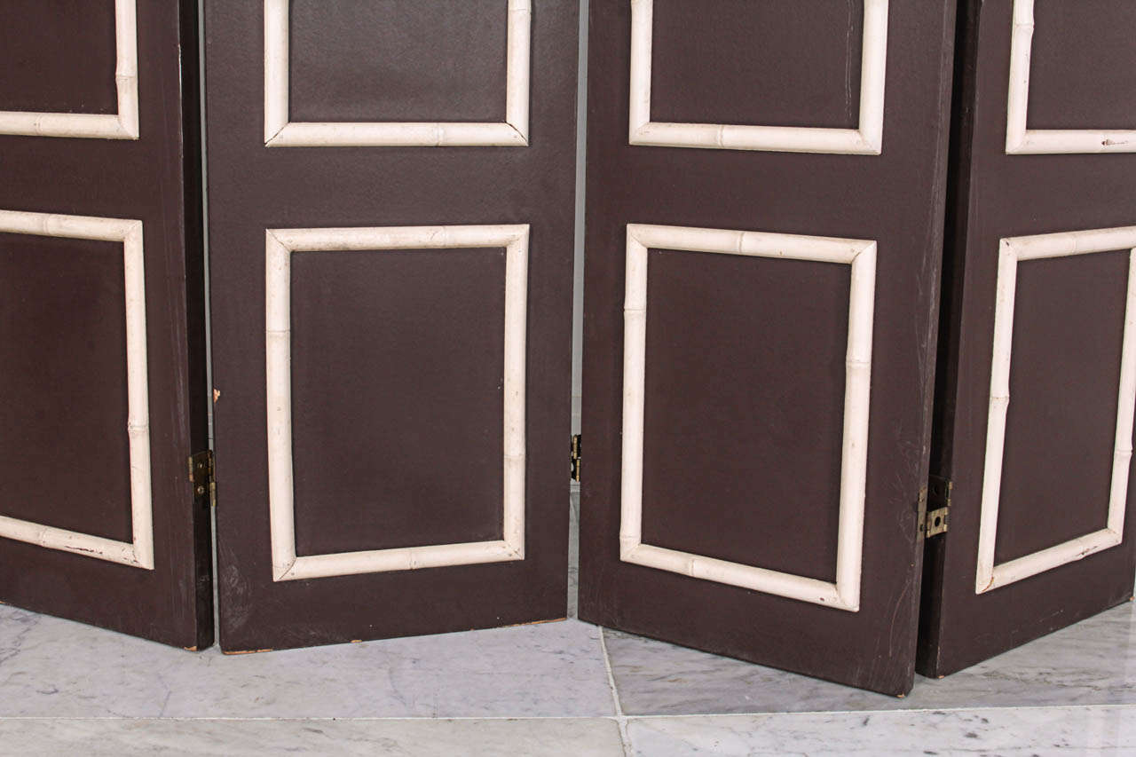 Pair of Hollywood Regency Painted Wood Screens with Faux Bamboo Trim 4