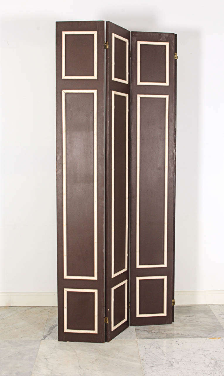 Pair of Hollywood Regency Painted Wood Screens with Faux Bamboo Trim 5