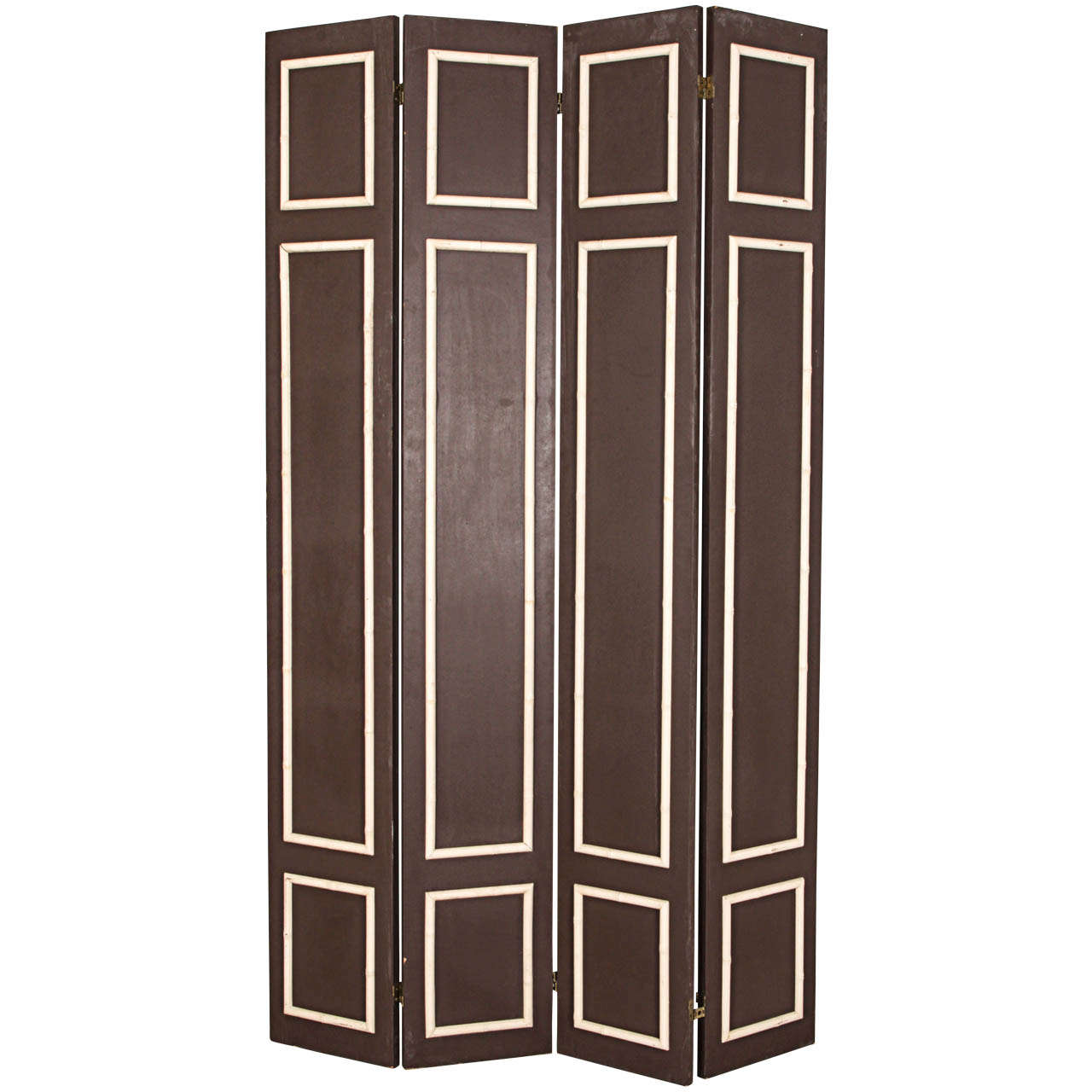 Pair of Hollywood Regency Painted Wood Screens with Faux Bamboo Trim 1
