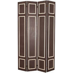 Pair of Hollywood Regency Painted Wood Screens with Faux Bamboo Trim