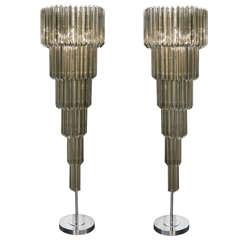 Exuberant Pair Venini Floor Lamps