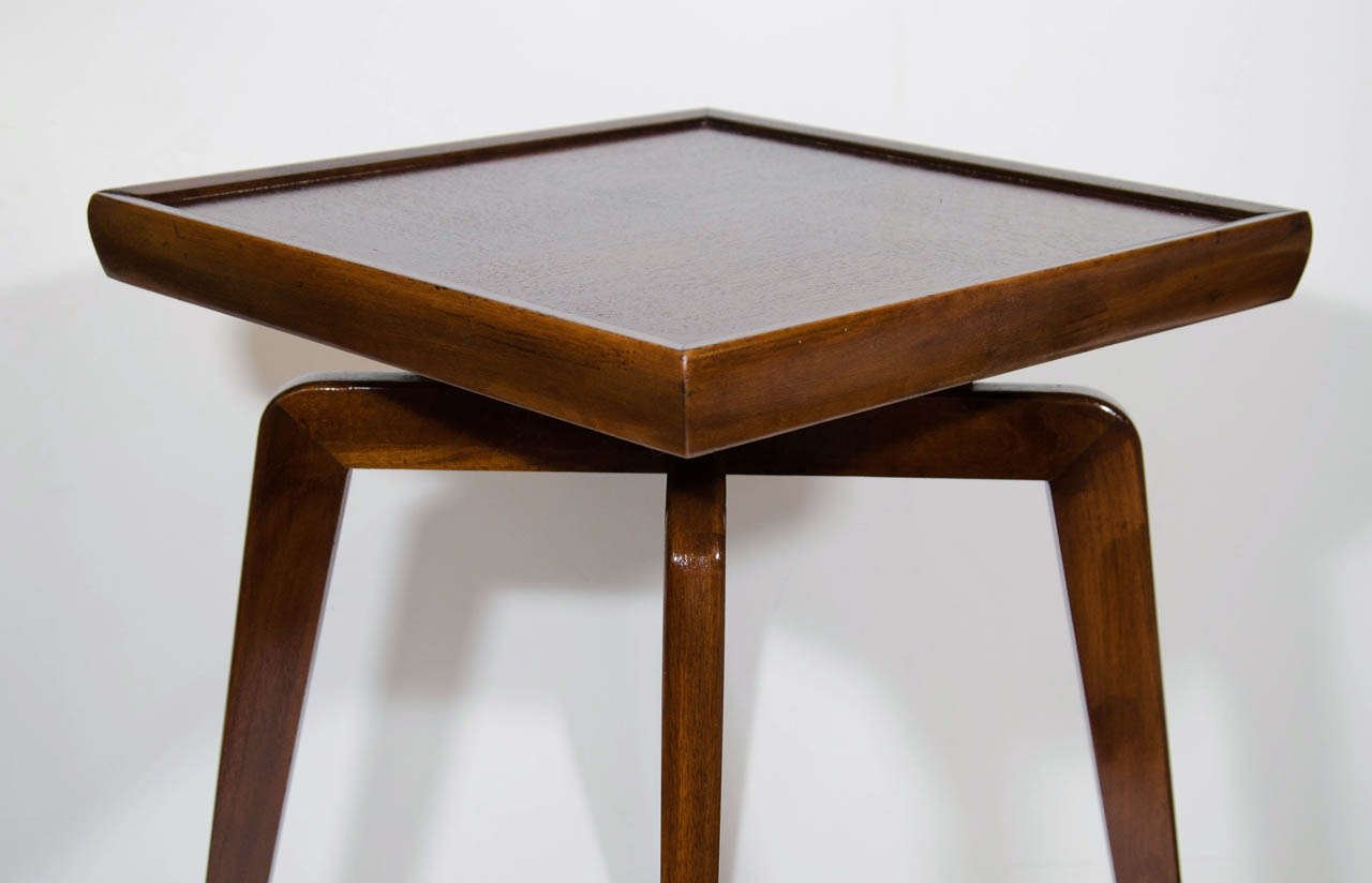 Pair Of Mid Century Modern Walnut Wood Side Tables With