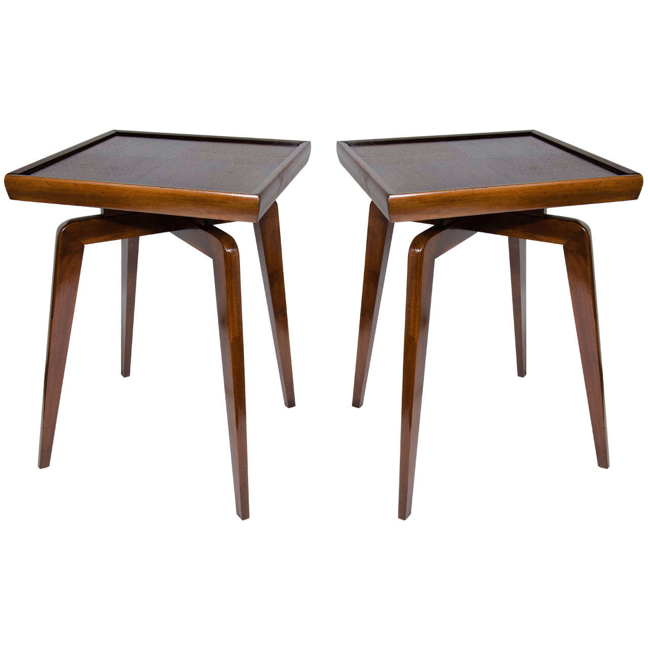 Pair of mid century modern walnut wood side tables with Modern side table