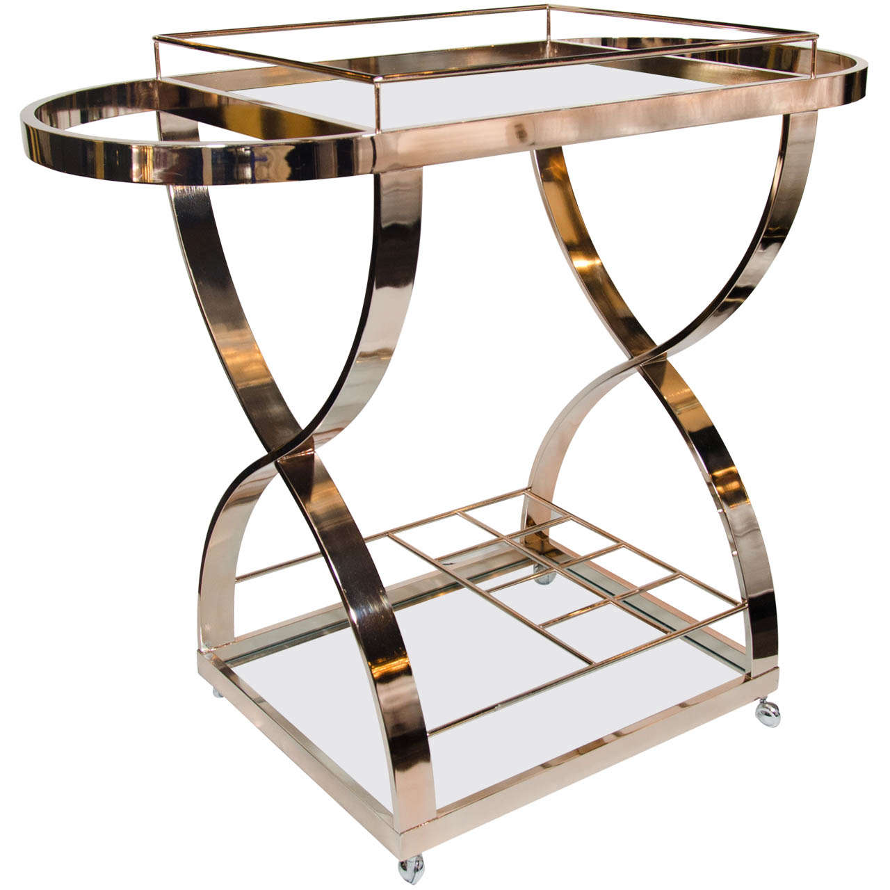 luxe modernist bar cart in rose gold metal with x frame