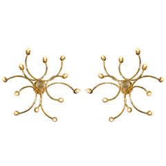 Pair of Sculptural Brass Sconces Designed by Gaetano Sciolari