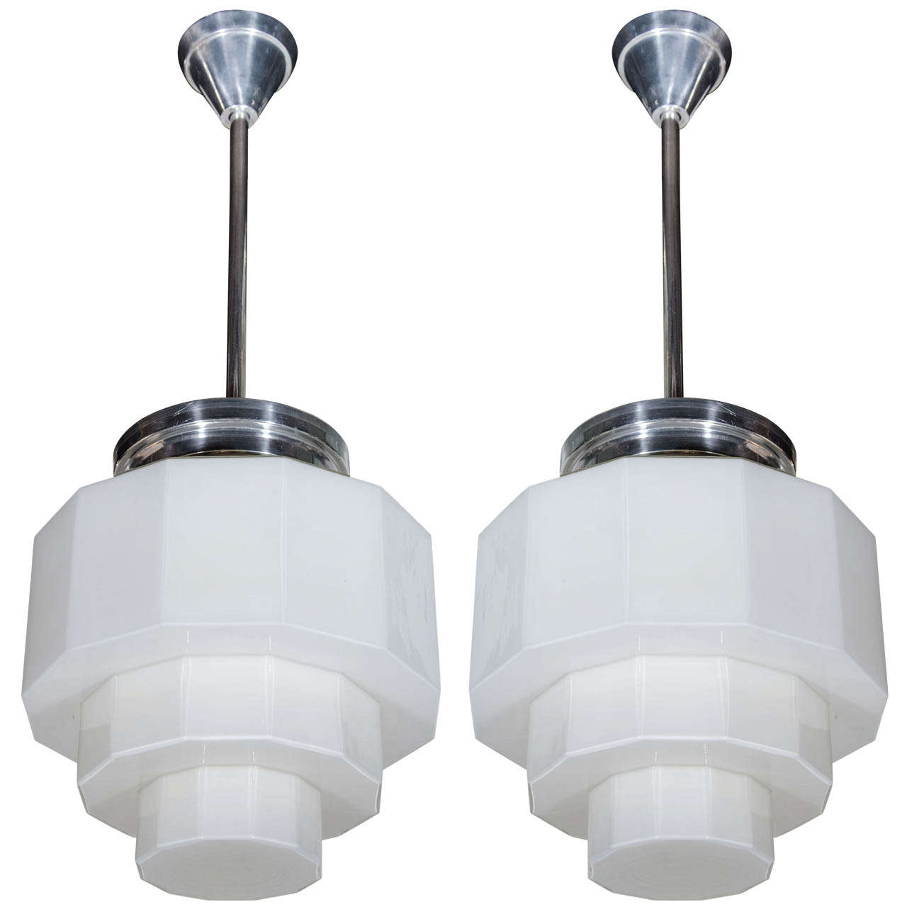 Pair of art deco chandeliers with skyscraper opaline glass design for sale