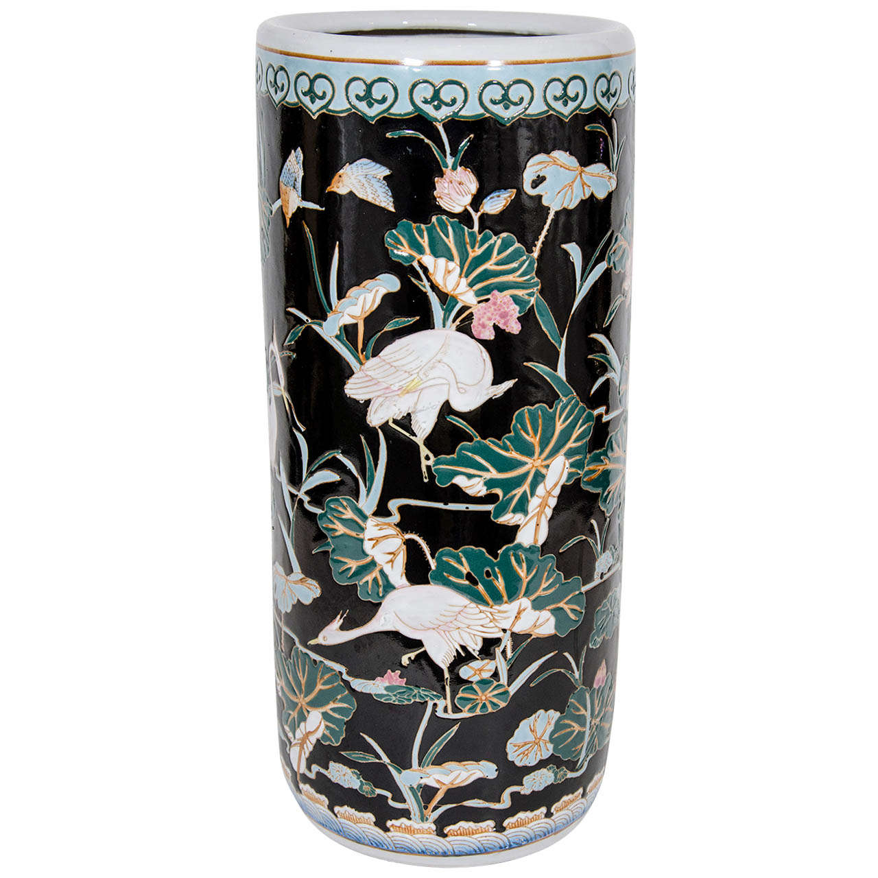Exquisite Porcelain Umbrella Stand With Hand Painted