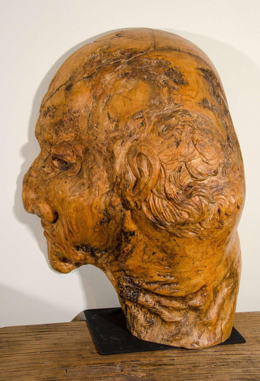 Massive burl wood carved profile at stdibs