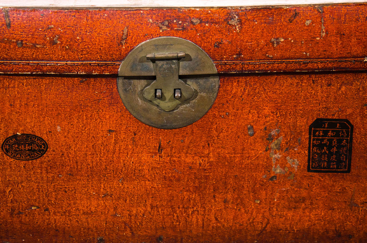 Antique Chinese Leather Trunk In Good Condition For Sale In New York, NY