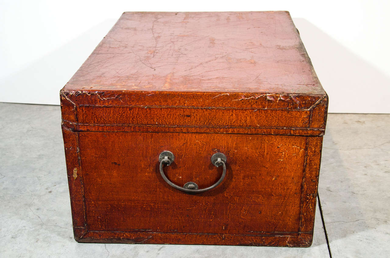 Antique Chinese Leather Trunk For Sale 1