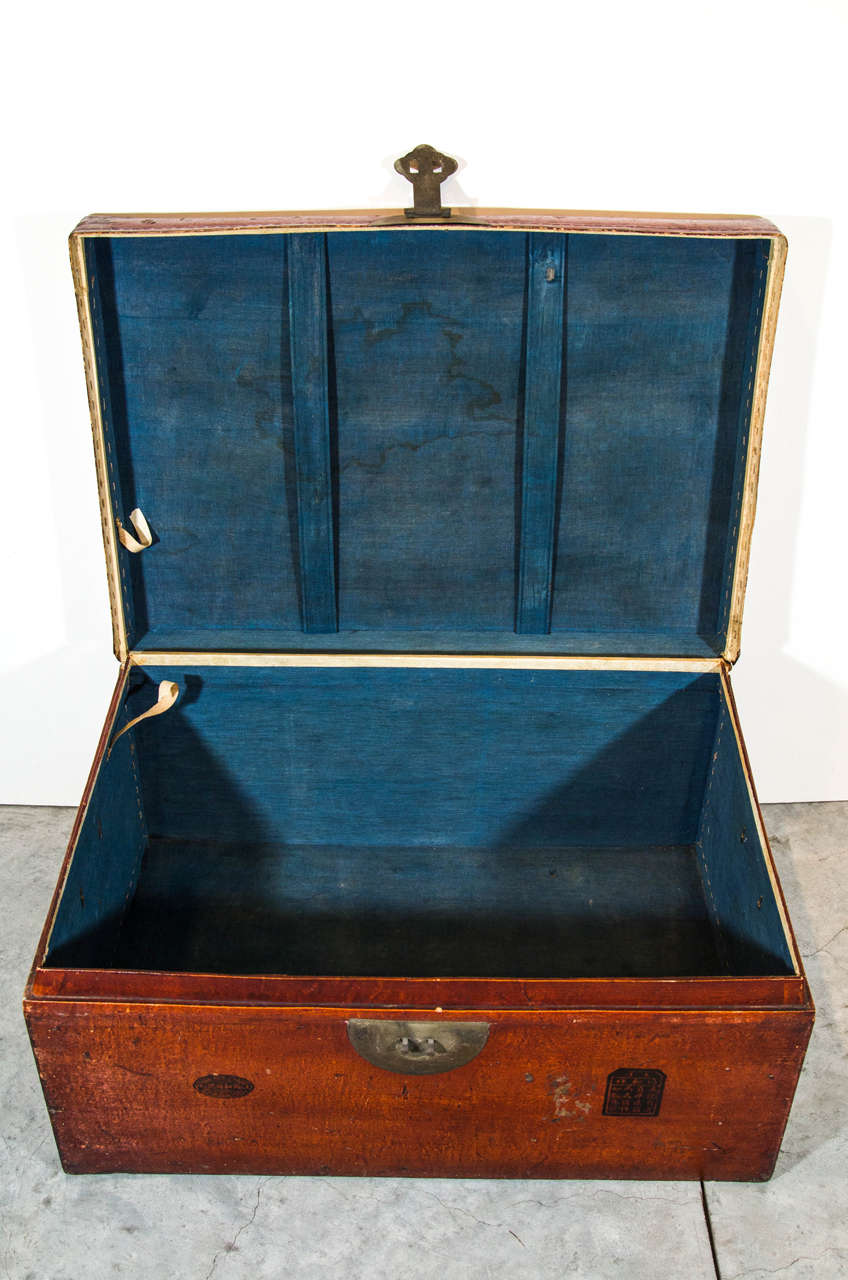 Antique Chinese Leather Trunk For Sale 2
