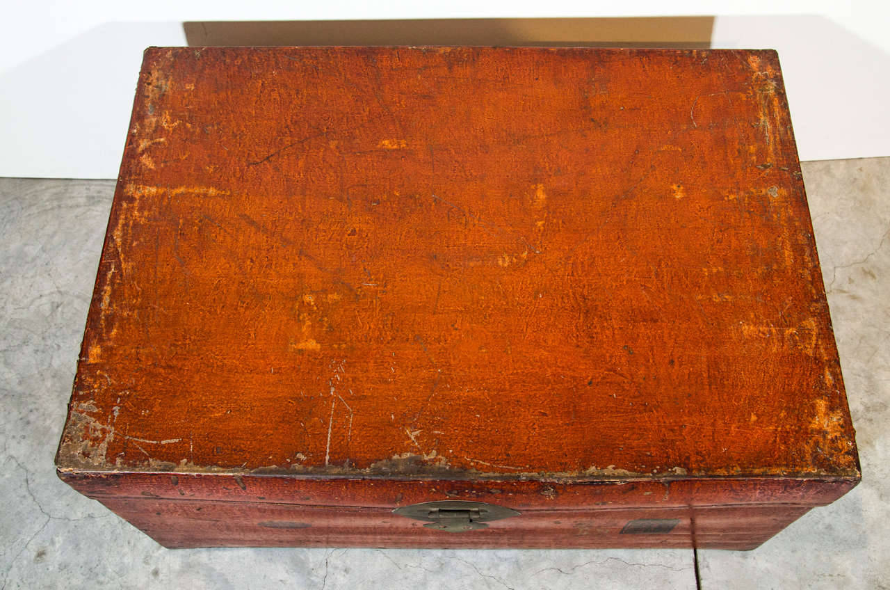 Antique Chinese Leather Trunk For Sale 3