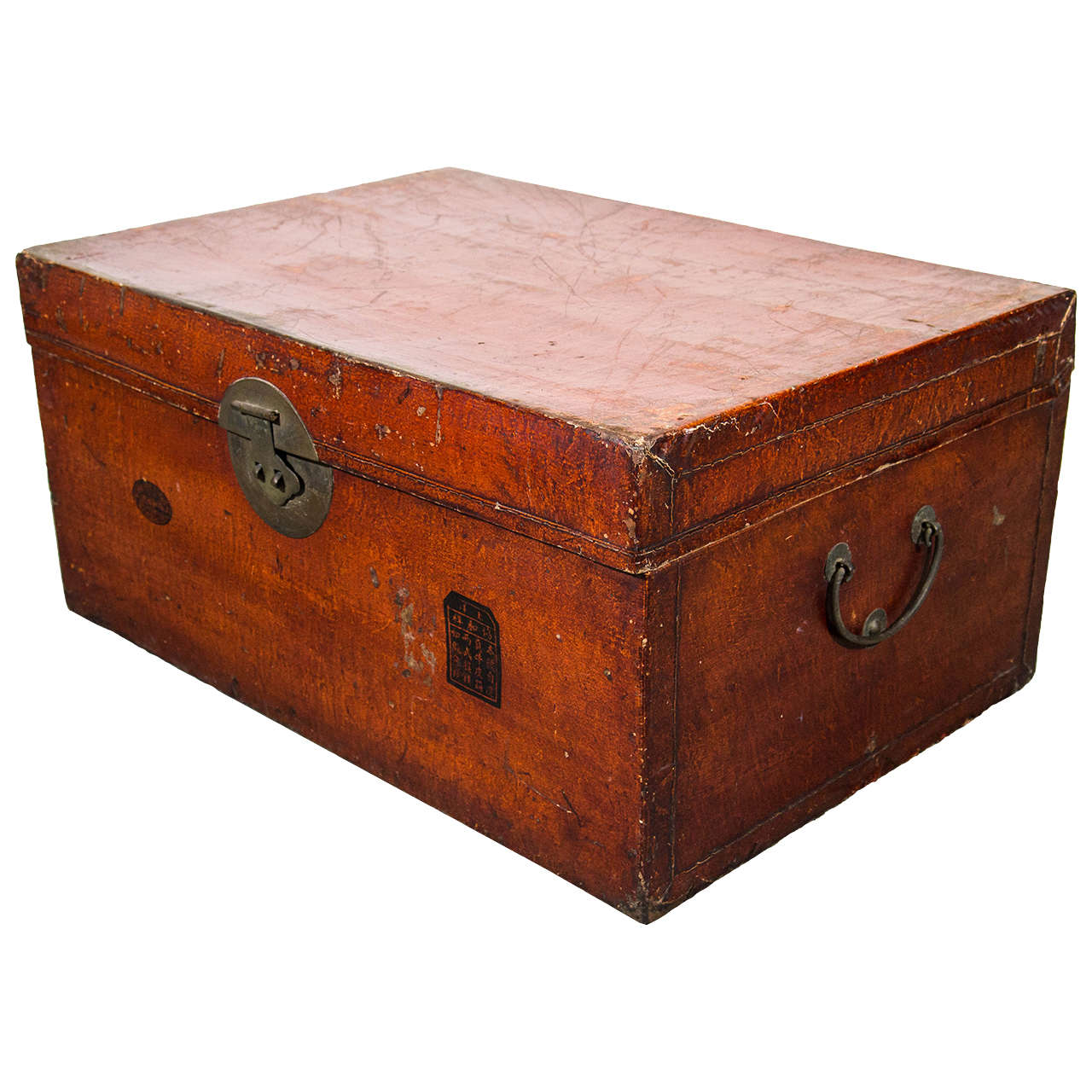 Antique chinese leather trunk - Leather chests and trunks ...