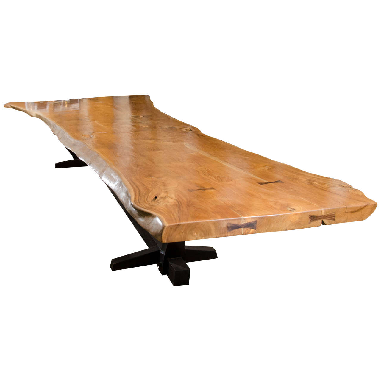 Andrianna Shamaris Massive Teak Wood Live Edge Dining Table For Sale