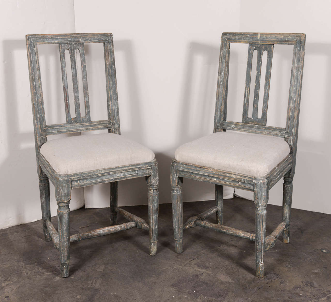 Swedish Gustavian Blue Painted Slat Back Dining Chairs from circa ...