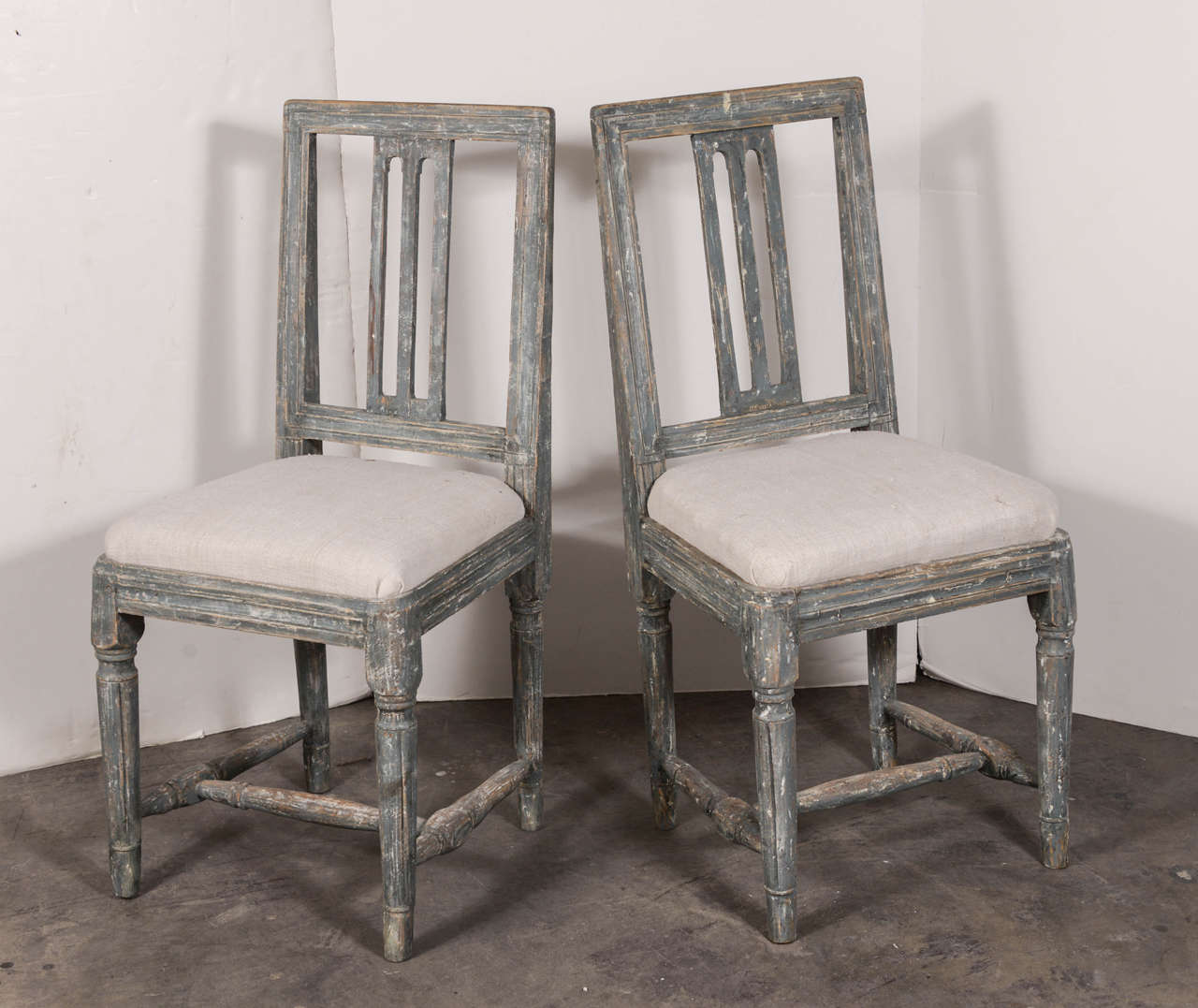 Swedish Gustavian Blue Painted Slat Back Dining Chairs from circa 1790 In Good Condition For Sale In Houston, TX