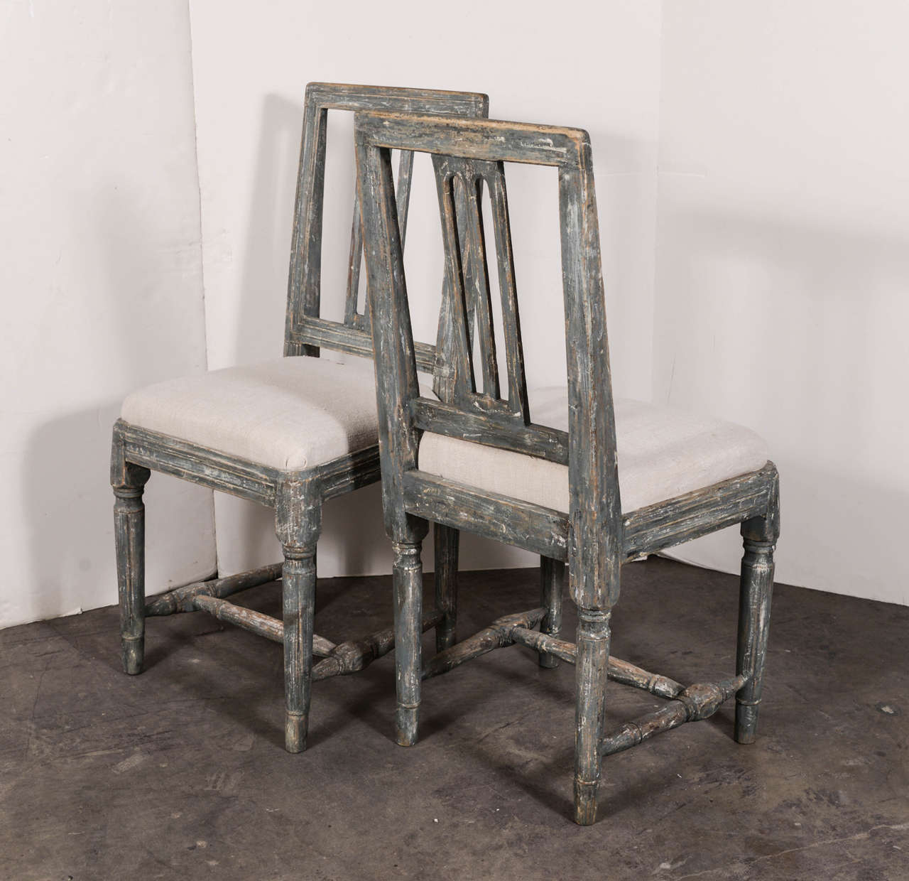 18th Century Swedish Gustavian Blue Painted Slat Back Dining Chairs from circa 1790 For Sale