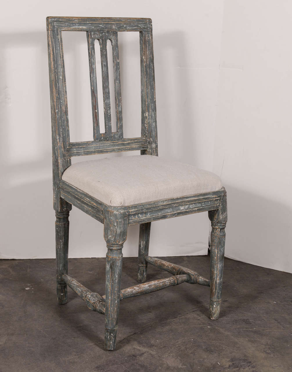 Swedish Gustavian Blue Painted Slat Back Dining Chairs from circa 1790 5