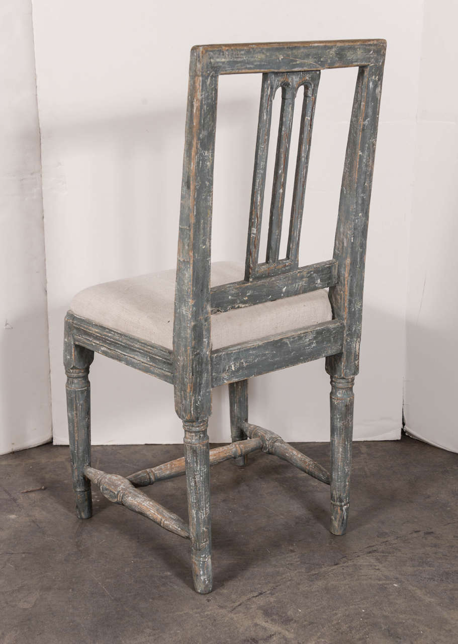 Swedish Gustavian Blue Painted Slat Back Dining Chairs from circa 1790 6