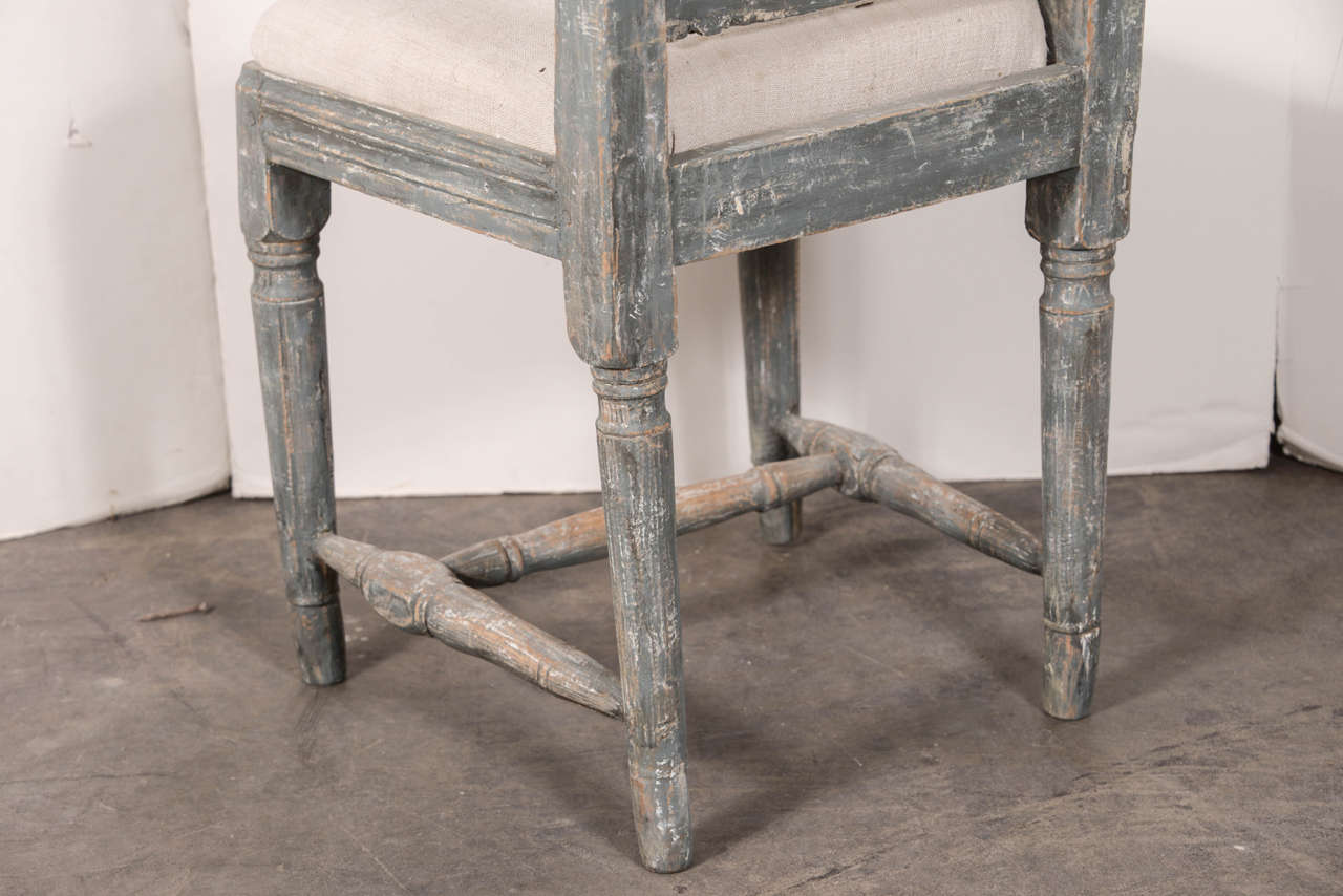 Swedish Gustavian Blue Painted Slat Back Dining Chairs from circa 1790 For Sale 3