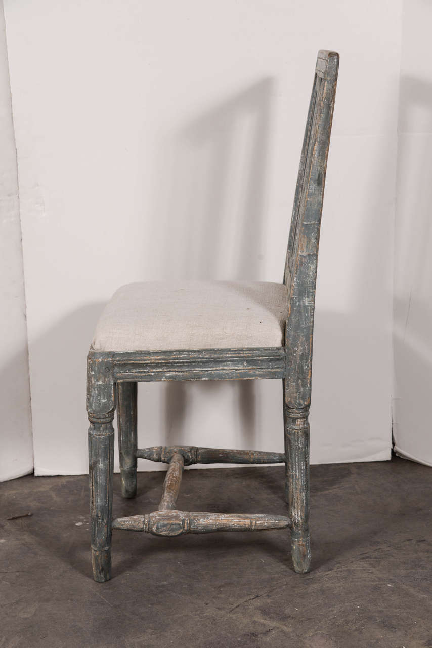 Swedish Gustavian Blue Painted Slat Back Dining Chairs from circa 1790 For Sale 4