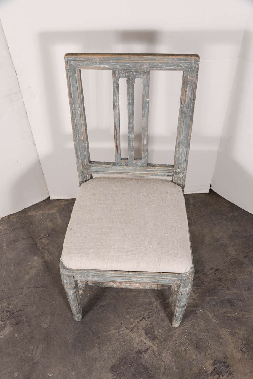 Swedish Gustavian Blue Painted Slat Back Dining Chairs from circa 1790 For Sale 5