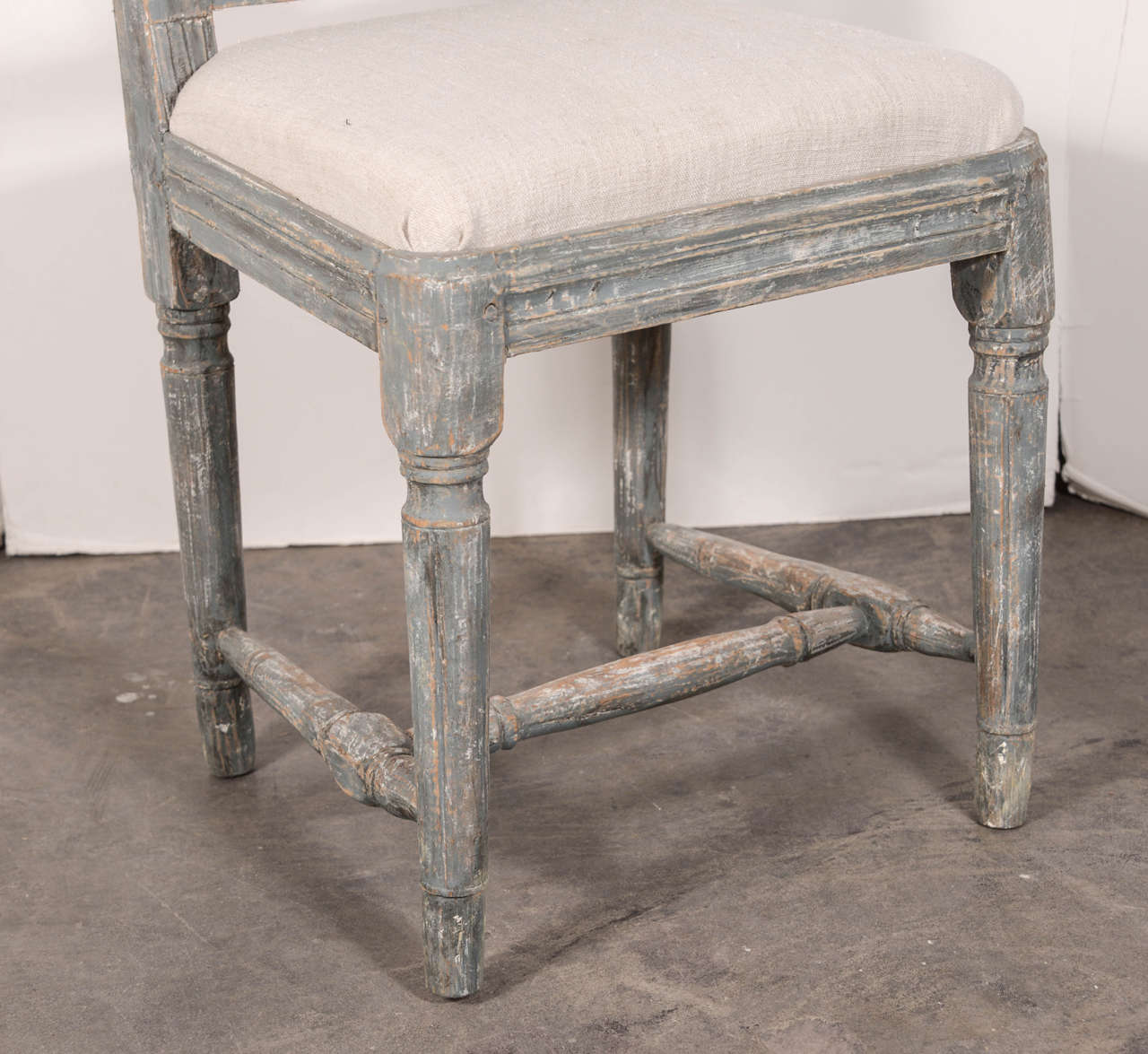 Swedish Gustavian Blue Painted Slat Back Dining Chairs from circa 1790 10