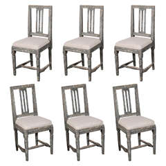 Swedish Gustavian Blue Painted Slat Back Dining Chairs from circa 1790