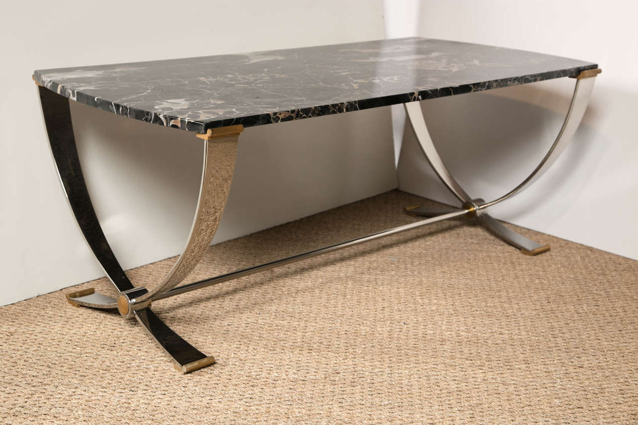 Ruithmanesque Chrome & Brass Coffee Table with marble top In Good Condition For Sale In Stamford, CT