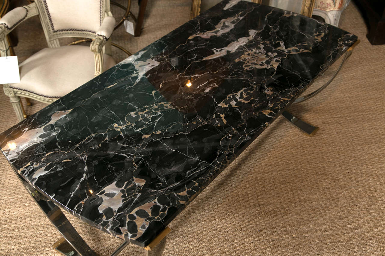 Ruithmanesque Chrome & Brass Coffee Table with marble top For Sale 1