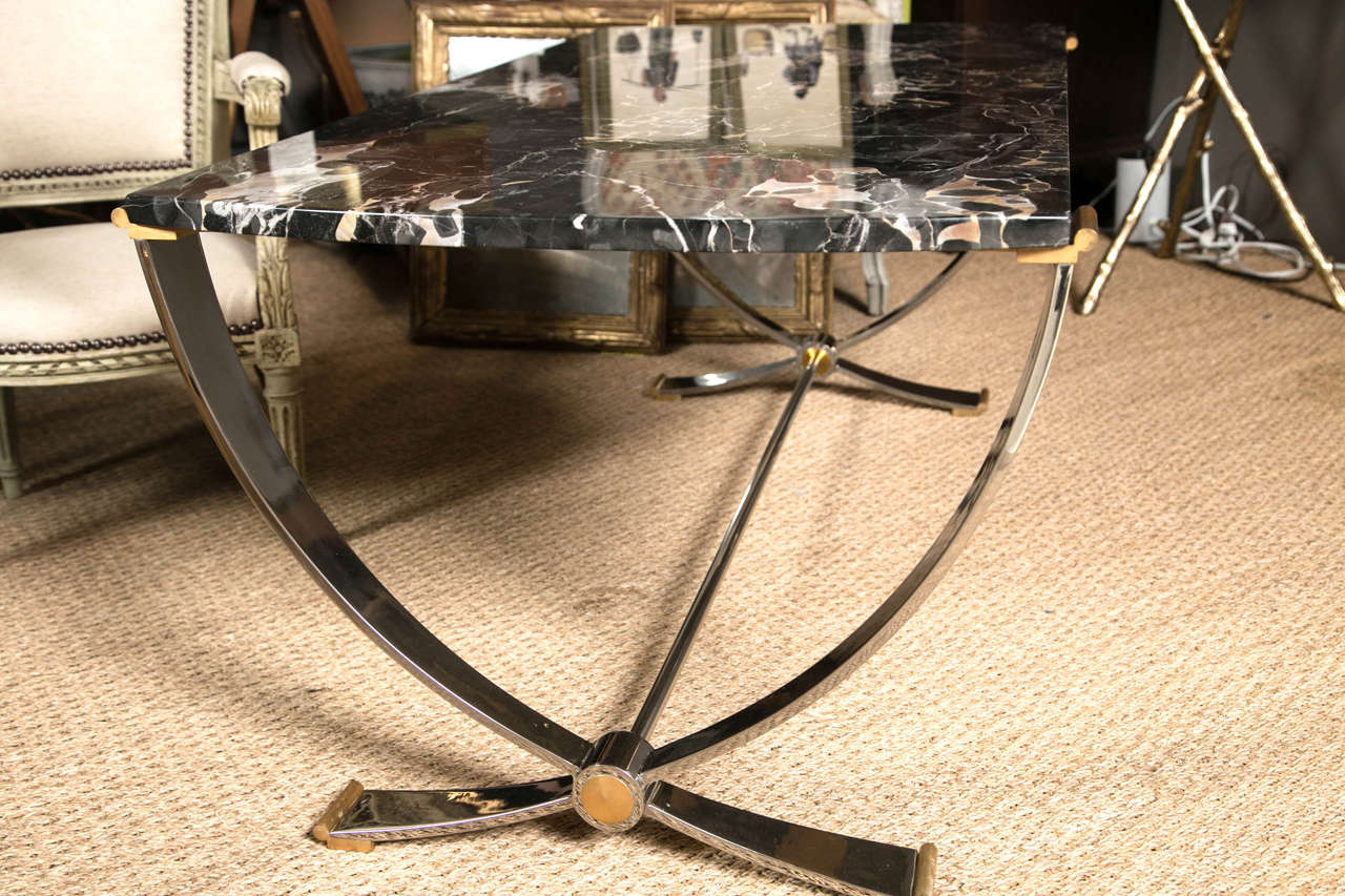 Ruithmanesque Chrome & Brass Coffee Table with marble top For Sale 3