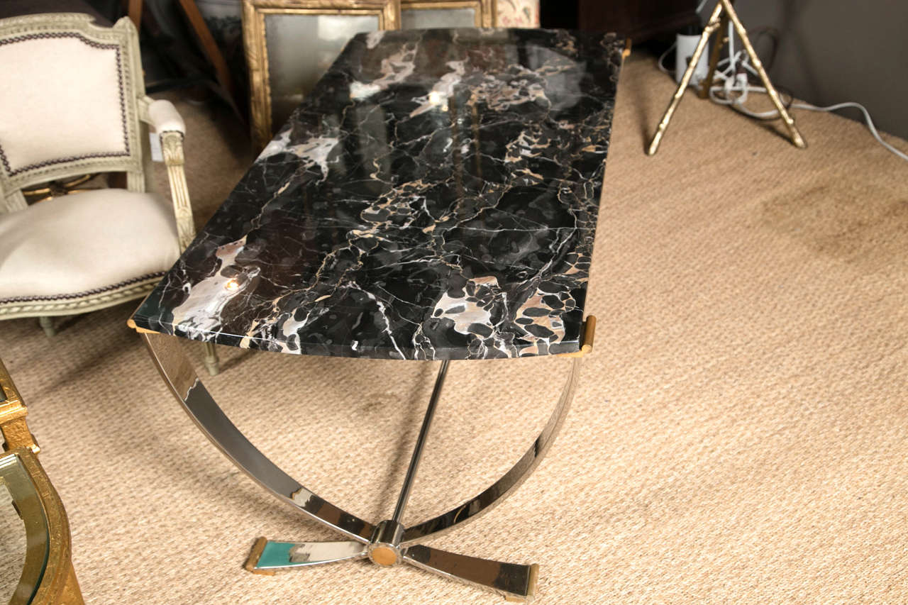 Ruithmanesque Chrome & Brass Coffee Table with marble top For Sale 4