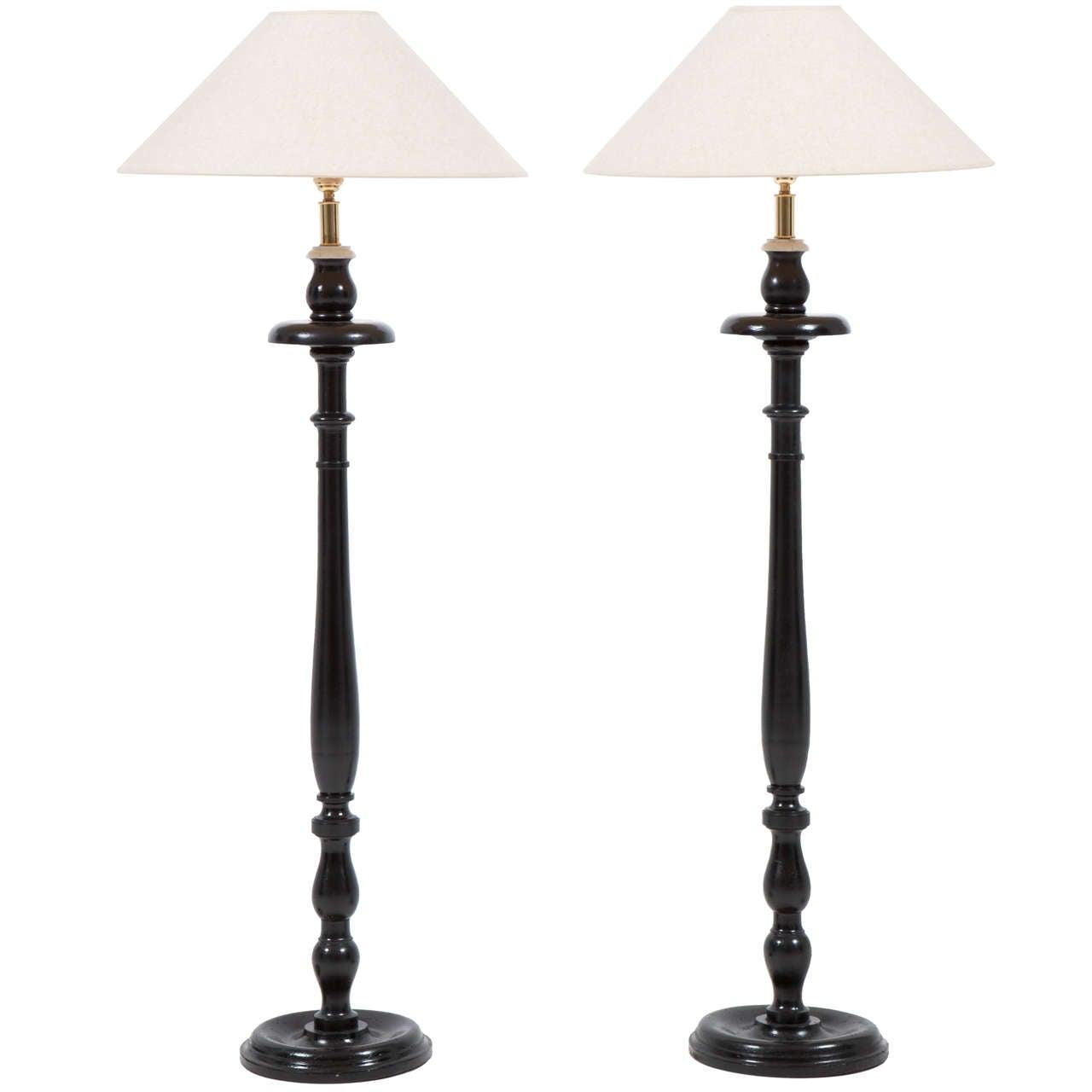 Pair of Painted Wood Floor Lamps